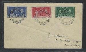 CAYMAN ISLANDS  COVER (P1904B)  1937 KGVI CORONATION SET FDC CAYMAN BRAC TO  UK