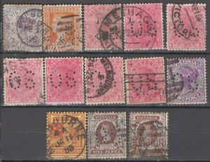 COLLECTION LOT OF #992 AUSTRALIAN STATES  VICTORIA 13 PERFIN 1886+ CLEARANCE