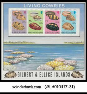 GILBERT ISLANDS - 1975 LIVING COWRIES SEA SHELLS / MARINE LIFE - Miniature sheet