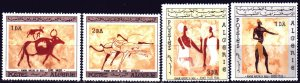 Algeria. 1966. 444-47. Rock paintings, art of ancient people. MLH.