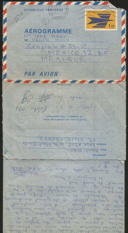 J) 1971 FRANCE, AEROGRAMME, COMPLETE LETTER, AIRMAIL, CIRCULATED COVER, FROM FRA