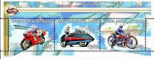 Comoro Islands Stamps Sc#935E- (2009) - Sheet of 3 - Motorcycles - MNH