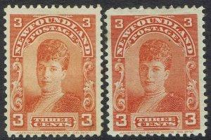 NEWFOUNDLAND 1897 PRINCESS OF WALES 3C BOTH SHADES