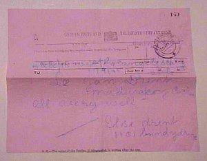 INDIA  TELEGRAM 1942 TO LOS ANGELES