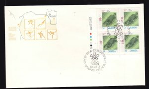 Canada-Sc#1198-stamps on FDC-UL Plate Block-Sports-Winter Olympics-Bobsled-1988-