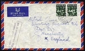 NIGERIA 1961 cover ex WARRI to UK INSUFFICIENTLY PAID......................98380