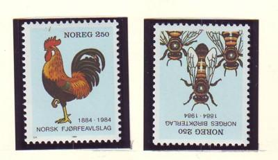 Norway Sc 845-6 1984 Bees Poultry stamp set mint NH