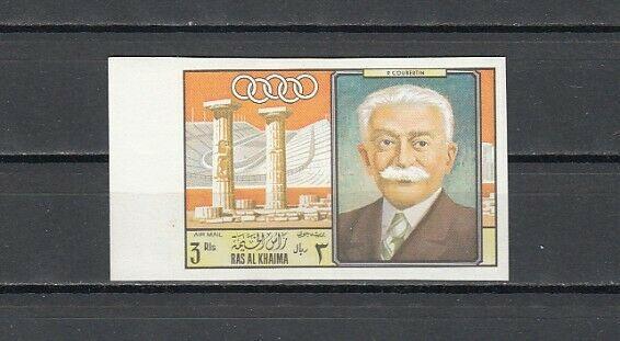 Ras Al Khaima, Mi cat. 292 B. P. Coubertin-Modern Olympics value. IMPERF