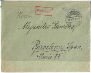 72511 - GERMANY  - POSTAL HISTORY - Cover o SPAIN - INFLATION PERIOD  1923