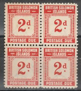 BRITISH SOLOMON ISLANDS 1940 POSTAGE DUE 2D BLOCK MNH **