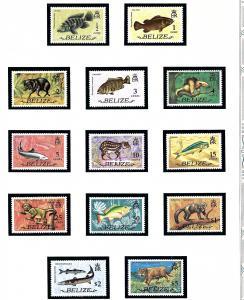 Belize 327-39 MNH 1974 Definitive Set (Fish and Animals)