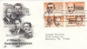 1983, American Inventors, Blk/4, Artcraft, FDC (D13059)