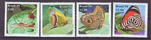 J22196 Jlstamps 1979 brazil set mnh #1620-3 butterflies