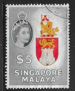Singapore 42: $5 Arms of Singapore, used, F-VF