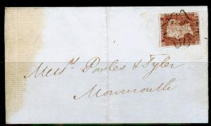 SG8, 1d red-brown, USED. Cat £1000. BLACK MX WITH 10. ON COVER. QD
