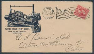 LARGE ILLUST ADVT 1895 TAPPEN STEAM PUMP WORKS 1895 VF+ COVER BR4308 HSAM