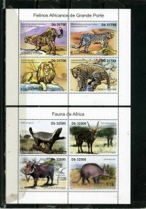 ST.THOMAS & PRINCE ISLANDS 2011 AFRICAN WILD ANIMALS 2 SHEETS OF 4 STAMPS MNH