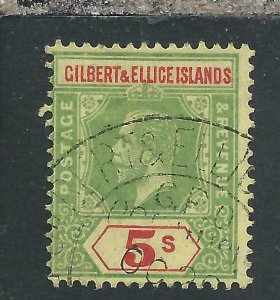 GILBERT & ELLICE IS 1912-24 5s GREEN & RED/YELLOW FU SG 23 CAT £65