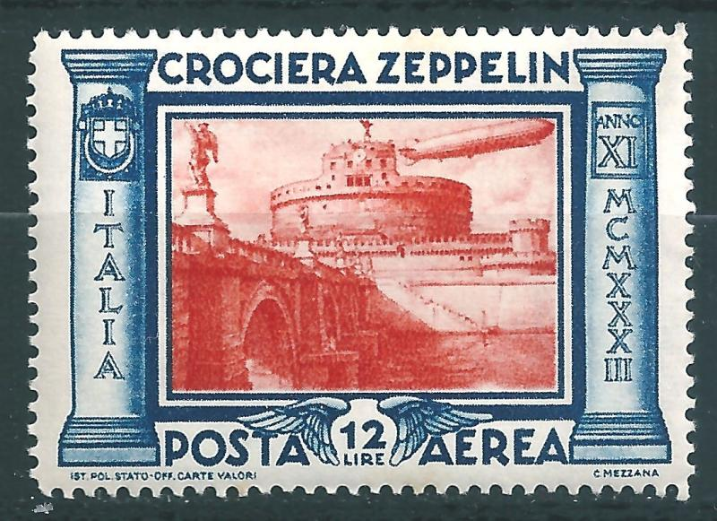 IITALY : T053  -  1933 air mail ZEPPELIN 12 L. - very leight hinged