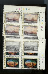 BARBADOS Sc#620-622 Complete Mint Never Hinged PLATE BLOCK Set