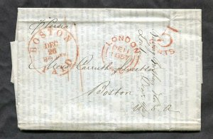 p511 - GB 1857 Folded Cover / Folded Letter SFL to USA. Contents. Packet PERSIA