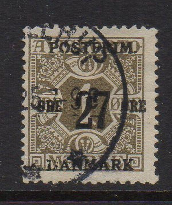 Denmark Sc 145 1918 27 ore ovpt on 1 ore stamp used