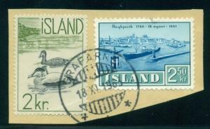 ICELAND BRIDGE CANCEL GRAFARNES (B3e) 1963 on multi on piece, VF