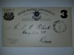 J) 1905 PERU, POSTCARD, POSTAL STATIONARY, NUMERAL 3 CENT, CIRCULATED COVER, FRO