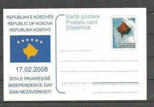 KOSOVO   2008 Independence Day Post card
