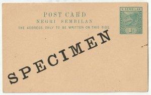 Malaya Negri Sembilan SPECIMEN 1c Tiger Pre-Stamped Postcard M2264