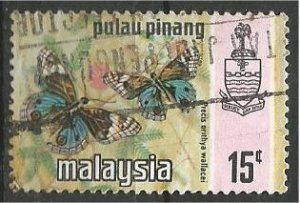PENANG, 1971, used 15c, Butterfly Scott 79