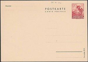 LIECHTENSTEIN c1940 20rp flowers postcard fine unused.......................G141