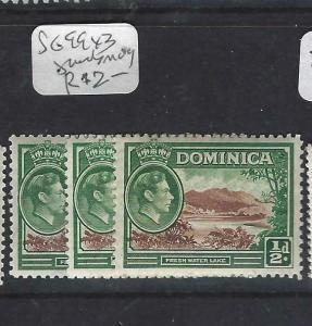 DOMINICA (PP1903B)  KGVI  1/2 D  SG 99 X 3 SHADES     MOG
