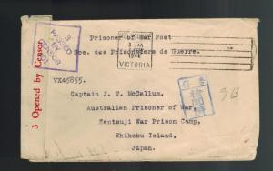 1944 Australia to Zentsuji JApan POW Prisoner of War Camp Cover CAptain J CAllum