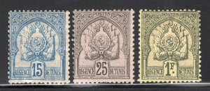 Tunisia 1888 Coat of Arms Dotted 15c Blue, 25c Black, 1Fr Mint #15,18,24 CV$110