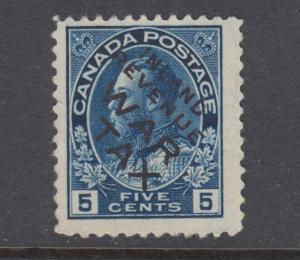 Canada Uni MR2Bi unused.  1915 5c blue WAR TAX with INLAND REVENUE WAR TAX ovpt