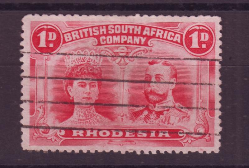 J17084 JLstamps 1910 rhodesia used #102 king and queen