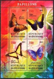 Ivory Coast 2013 Butterflies (5) MNH Cinderella !