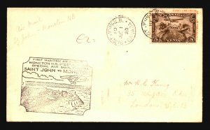 Canada 1929 FFC - St John to Moncton - Z16696