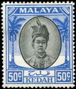 Malaya - Kedah SC# 78 SG# 87 Sultan Tungku Badlishah 50c MH