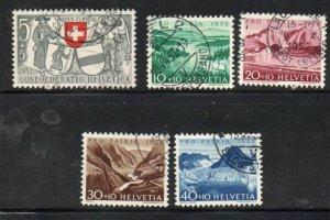 Switzerland Sc B212-16 1952 Pro Patria views stamp set used