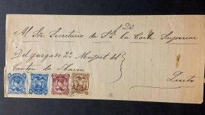L) 1885 ECUADOR, COAT OF ARMS, BROWN, UN CENTAVO, 2 CENTAVOS, RED WINE, 5 CENTAV