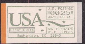 CVP1b Computer Postage Stamp FD machine one 8/23/89 25 cents