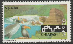 MEXICO 1803, N$4.80 Tourism Chiapas, birds, pyramid. Mint, Never Hinged F-VF.