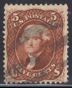 US Stamp #75 RED Brown 5c Jefferson USED SCV $425. Blazing color.