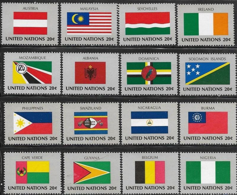 United Nations 1982 New York Flags of the Member Nations SC# 374-389 MNH