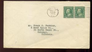 343/383 Perkins Private Perf Coil Line Pair of 2 Stamps on COVER (343 Perkin 2)