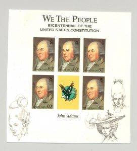 Turks & Caicos 1987 John Adams M/S of 5 Unissued Imperf Chromalin Essay
