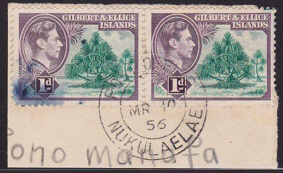 GILBERT & ELLICE IS GVI on 1956 piece POST OFFICE / NUKULAELAE cds..........2684