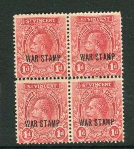 ST. VINCENT; 1918 early GV WAR STAMP Optd. issue 1d. mint hinged Block